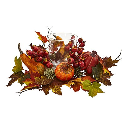 Berry Candelabrum - Nearly Natural Pumpkin, Gourd, Berry and Maple Leaf Artificial Arrangement Candelabrum, Multi/Color