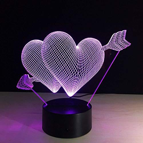 Xiujie 3D Cupid's Arrow Night Light Beautiful RGB Love Heart Shape Bedroom Lamp for Couples Lovers Wedding Anniversary Memory Gift
