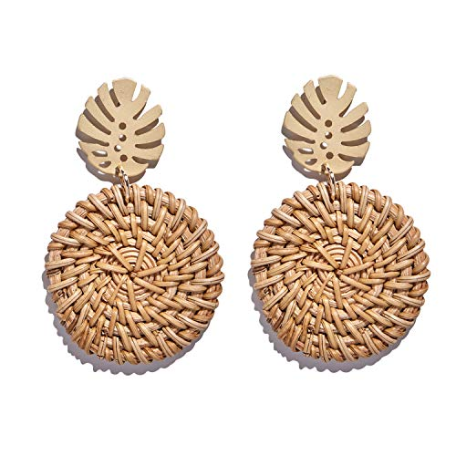 Large Leaf Earrings - Rattan Earrings For Women Bohemia Handmade Geometric Rattan Straw Weave Knit Vine Drop Olive Leaf Earrings for Women Korea Earring Party Jewelry as Women Birthday Gift