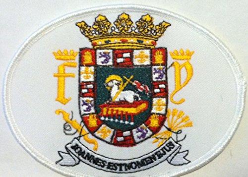 PUERTO RICO ESCUDO Iron On Patch Boricua OVAL Emblem White Border #02