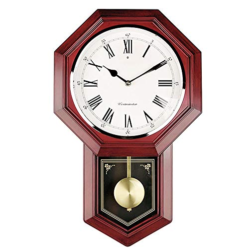 MQQ Old-Fashioned Wall Clock Battery Operated Quartz Wood Pendulum Clock Silent Wooden Schoolhouse Regulator Design Decorative Wall Clock Pendulum for Living Room Kitchen Home 18 x 11.25