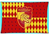 ON 40 x 60 cm Red Orange Harry Potter Pillow Case, Brown Grey Gryffindor Pillowcase Lion Griffon Pattern Hogwarts School Witchcraft Wizardry Magical Spells Wands Courage Jacquard Pillows, Polyester
