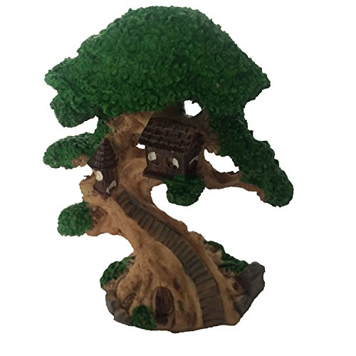 Tree House Status Aquarium Terrariums Miniature Garden Fairy Gardens Doll House Cake Topper Resin Decoration Gray For Sale