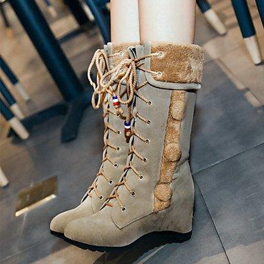 Heart&M Mujer Zapatos Cuero Nobuck Otoño Invierno Confort Innovador Botas de Moda Botas Tacón Cuña Dedo Puntiagudo Mitad de Gemelo Con Cordón Para gray