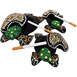 Balikraft Hand Made Wood Artisans 'Kura-Kura Hijau' Tropical Turtle Tortoise Family Cigarette Ashtray Keepsake Box Figurine Set of 3