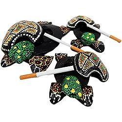 Balikraft Hand Made Wood Artisans 'Kura-Kura Hijau' Tropical Turtle Tortoise Family Cigarette Ashtray Keepsake Box Figurine Set of 3
