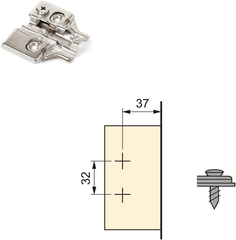 Emuca 1012907 Pack de 10 bisagras de cazoleta /Ø35mm 165/° cierre suave para puerta arremetida y suplementos para atornillar con regulaci/ón exc/éntrica
