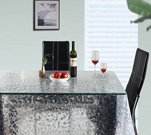 UFRIDAY Clear Tablecloth for Rectangle Table, Cobblestone/Pebble Decorative Plastic EVA Table Cover Soft Free of PVC Heavy Duty Dining Table Protector Waterproof and Spill Proof