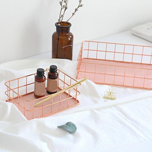 Caveen Modern Copper Rose Gold Wire Mesh Basket Storage Office Bedroom Bathroom Rose Gold medium Photo #5