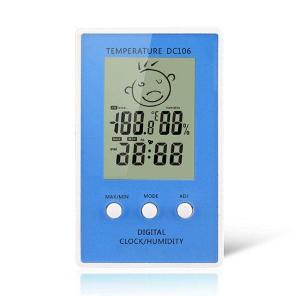 KQHSM Fashion Electronic Thermometer Hygrometer Family Temperature and Humidity Meter Indoor Backlight Room Creative Clock (Color : B) by KQHSM