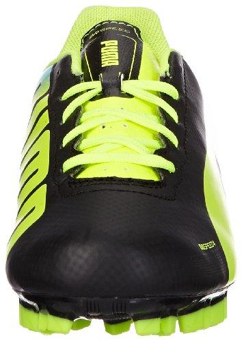 Puma evoSPEED 4.2 AG Jr - Zapatos de fútbol de material sintético infantil negro - Schwarz (black-fluo yellow-brilliant blue 01)