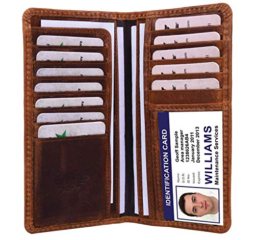 Addey Supply Company Men's RFID Protected Leather Long Wallet Bifold Wallet 6.75