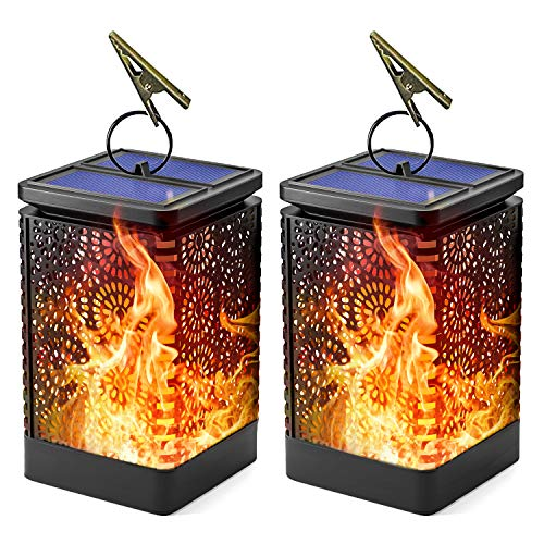 LOFTEK 2-Pack Solar Flame Lanterns, Outdoor Hanging LED Solar Powered Dancing Flame Lamp, Auto On and Off Night Lights Dusk to Dawn, Perfect for Garden Yard Path and other Decoration,16 Lumens, Black