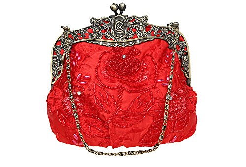 Beaded Purse (ILISHOP Women's Antique Beaded Party Clutch Vintage Rose Purse Evening Handbag (Red))