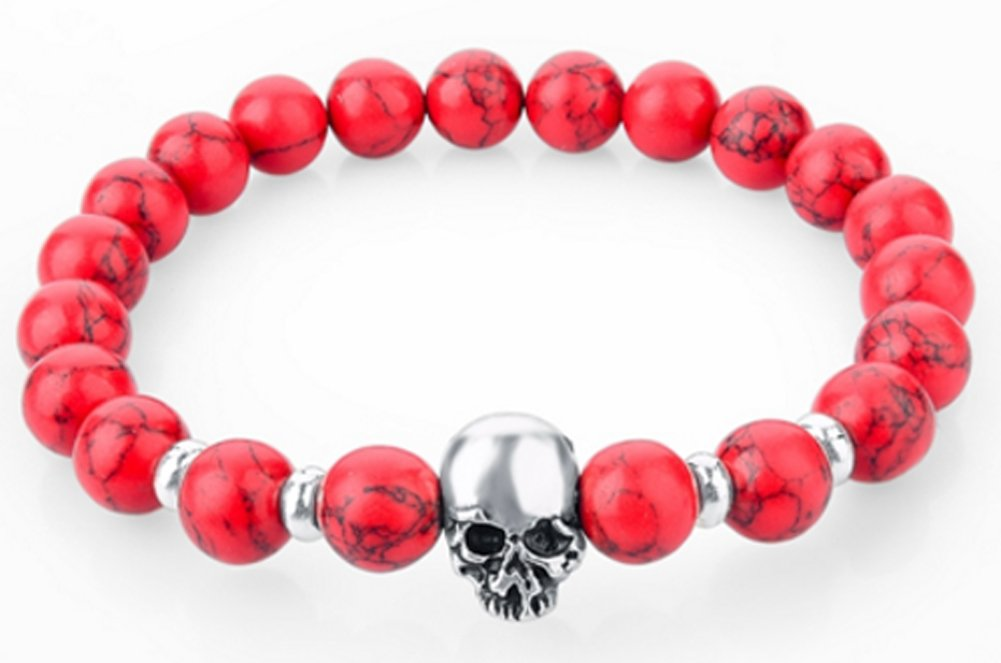 SaySure - Stone Skull Charm Bracelet Turquoise Beads Bracelets
