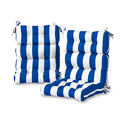 Cushion Stripe (Greendale Home Fashions Outdoor High Back Chair Cushion (set of 2), Cabana Blue)