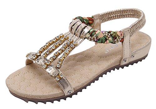 Agowoo Womens Bijou Slip Plat Sur La Plage Marche Sandales Or
