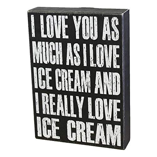 JennyGems Love - I Love You As Much As I Love Ice Cream and I Really Love Ice Cream - Love Sayings - Real Wood Sign - Sentimental Gift Gifts - I Love You Gifts