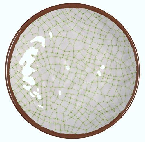 Melange 36-Piece 100% Melamine Salad Plate Set (Hammered Checks Collection ) | Shatter-Proof and Chip-Resistant Melamine Salad Plates | Color: Lime