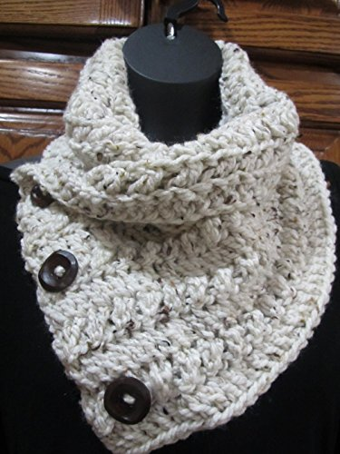 - Cream Tweed Crocheted Chunky weight Ribbed scarf w/ 3 Wood buttons