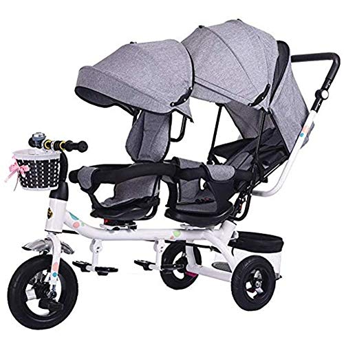 Cylficl Double Stroller, Tandem Bicycle, Twin Stroller 1-6 Year Old Stroller, Seat Can Be Rotated 360°