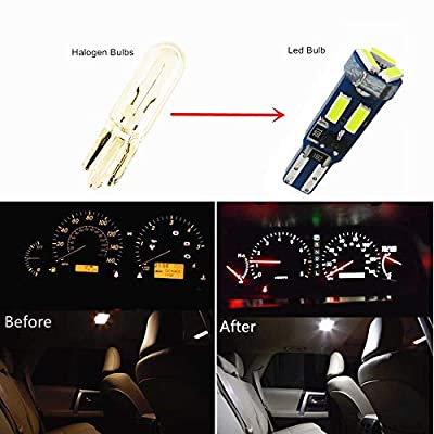 WLJH Led T5 37 74 286 2721 2723 12505LL Smaller Bulb - Easy to Install for Instrument Panel Gauge Cluster Dash Vanity Mirror Glove Box Indicator Warning Lights White, 20 Pack: Automotive