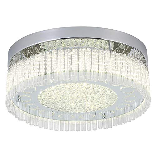 Horisun Flush Mount Ceiling Light Modern ETL Listed Dimmable Ceiling Lamp K9 Crystal Bead 2640LM 4000K Daylight White Polished Chrome Light for Kitchen,Livingroom,Dinning Room,Balcony,Bedroom ()