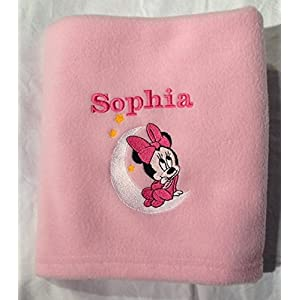 Personalised Baby Super Soft Fleece Blanket with Minnie Mouse and Name and Date Baby Gift Keepsake Baby Shower (Pink)