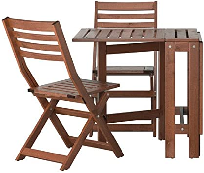 Ikea Applaro Exterieur Pliante En Bois Table De Bistrot Et 2