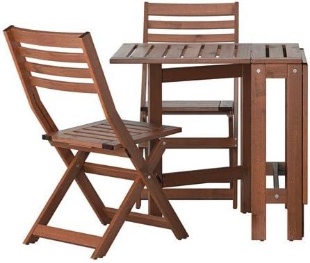 Ikea Applaro Exterieur Pliante En Bois Table De Bistrot Et 2 Chaises Pliantes Amazon Fr Jardin