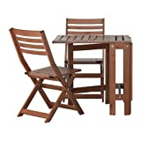Ikea ÄPPLARÖ Outdoor Wooden Folding Bistro Table and 2 folding chairs