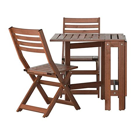 Ikea APPLARO Outdoor Wooden Folding Bistro Table And 2 Chairs