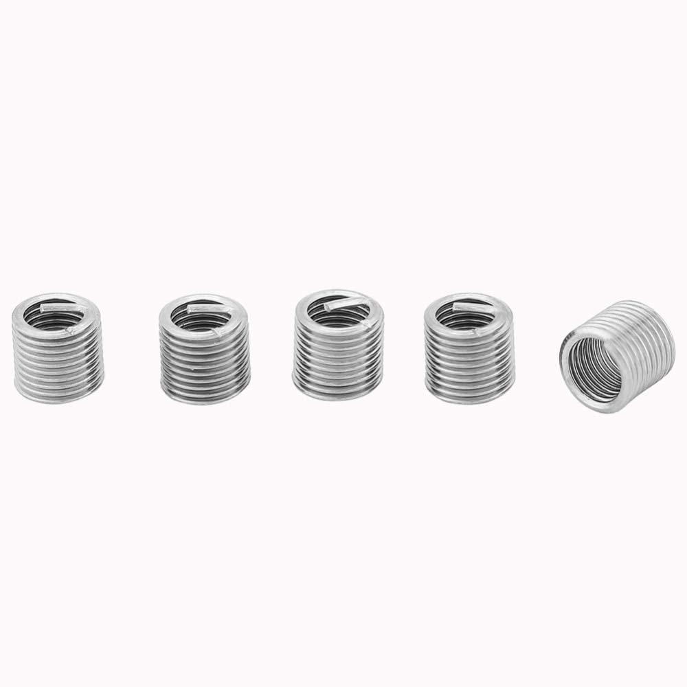 Ochoos 100 Pcs Wire Thread Inserts 304 Stainless Steel Wire Screw Sleeve Thread Repair Insert Assortment Kit M5x0.8x2D
