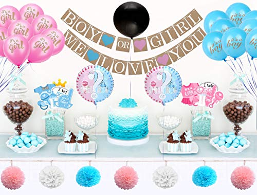 Baby Gender Reveal Party Supplies: Boy or Girl Decorations Kit with Banner, Reveal Balloon, Confetti, Pink and Blue Balloons, Pom Poms and Photo Props - Gender Reveal Ideas and Party Decor - 60 Pieces -