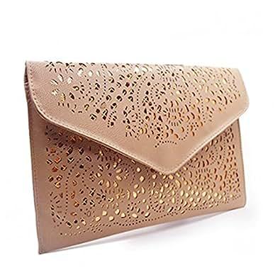 Mily Hollow Out Flower Envelop Clutch Chain Tote Shoulder Bag Handbag Beige