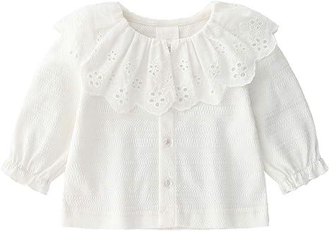 Algodón de los bebés Cardigan Botón de camisa de manga larga del niño hasta Cardigan linda volante de la solapa del traje de 66cm de primavera y verano blanca: Amazon.es: Bebé