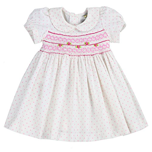 sissymini- Infant & Toddler Soft Printed Corduroy Classic Hand Smocked & Embroidered Dress (White Polka Dot, 24M)