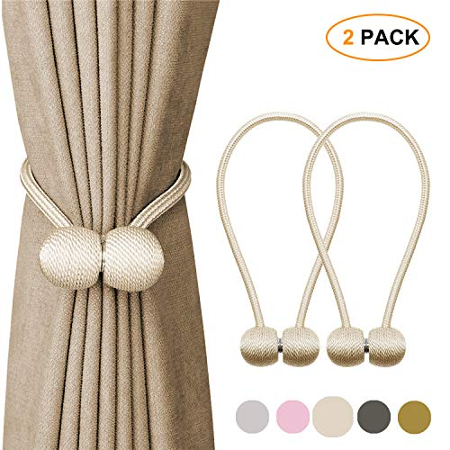 Tagefa Strong Magnetic Curtain Tiebacks Clips, Decorative Window tie Backs Holders Holdback Rope, for Home Office Decorative Living Room Design Drapery Buckle, 16 Inch Beige Gray Pink Gold 2 Pack