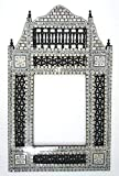 W108 Black Arabesque Mother of Pearl Wood Mirror Rectangular Frame