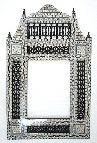W108 Black Arabesque Mother of Pearl Wood Mirror Rectangular Frame by Generic