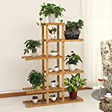 LIZX 6 Tier Asymmetrical Bamboo Flower Rack Balcony Multi - Layer Flower Pots Rack Living Room Interior Multi - Purpose Shelves Potted Display Stand