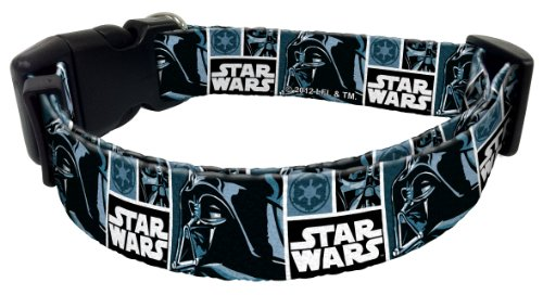 "Star Wars Dog Collar Design: Darth Vader, Size: Medium (Fits 10"" to 16"" Neck)"