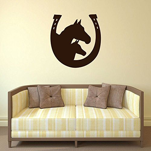 Horseshoe Wall Decal - Mare and Foal - Vinyl Sticker Design for Home Decor, Bedroom or Living Room Decoration