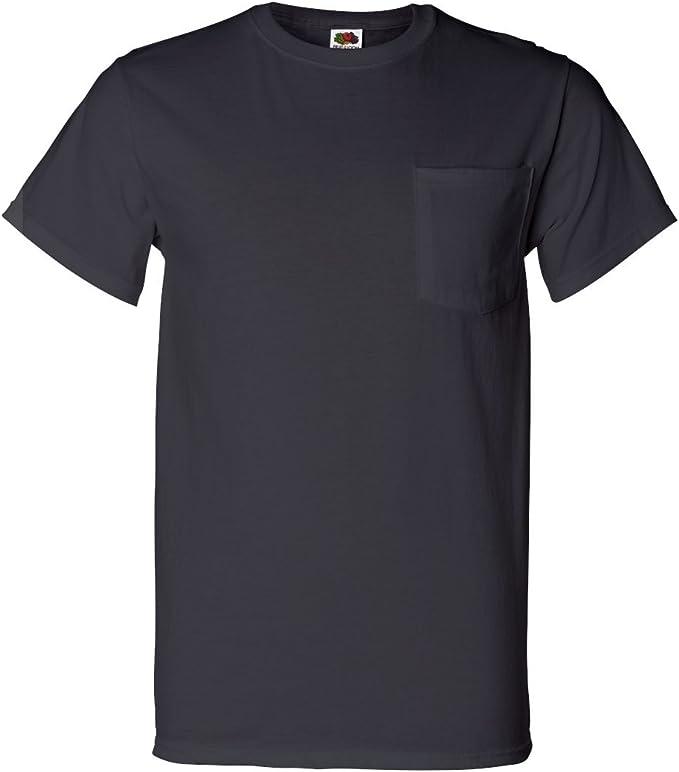 10 Blue Gray Medium 38-40 Inch Pocket T-Shirts Fruit Of The Loom M 97-102 CM