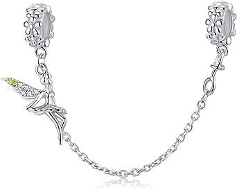 Abalorio con cadena de seguridad en plata de ley 925, compatible con pulseras Pandora,diseño Hada duende con cierre de clip, cadena de eslabones