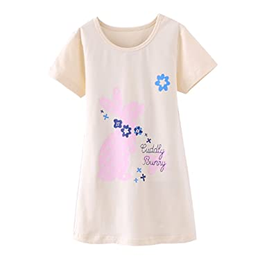 9f24c2b38e Zegoo Girls Cotton Blend Knit in Beautiful Floral Print Toddler Nightshirt