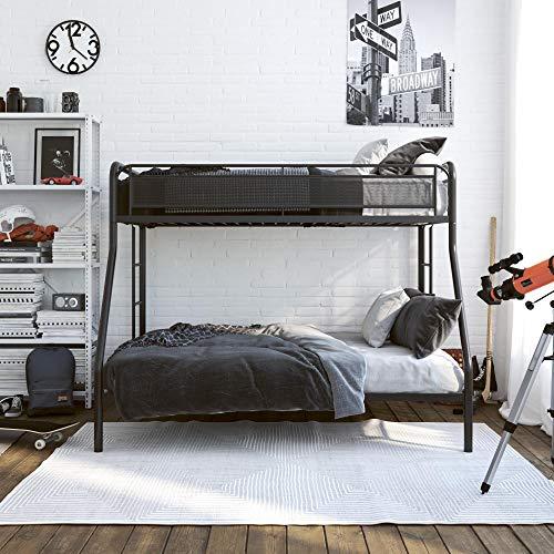 DHP Rockstar Metal Bunk Bed Frame, Sturdy Metal Design, Twin-Over-Full - Black (Metal Bunk Beds Full Bottom Twin Top)