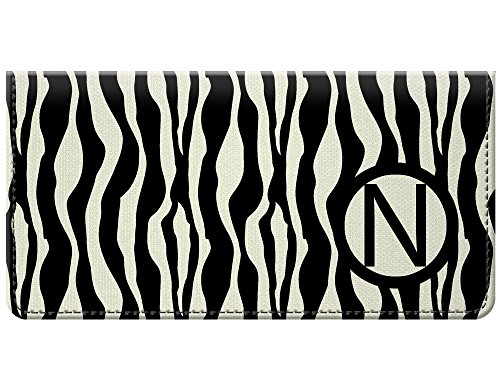 Zebra Monogram - Snaptotes Black Zebra Print Design Moroccan Personalized Monogram Checkbook Cover