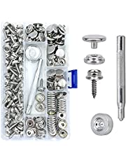 """Maerd 152Pcs Canvas Snap Kit with Tool, Stainless Steel Screw Boat Canvas Snaps Fastener Heavy Duty Metal Marine Button 3/8"""" Socket with Setting Tool for Boat Cover Furniture"""