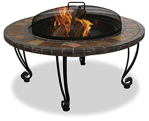 Slate and Marble Wood Outdoor Firebowl with Copper Accents ()